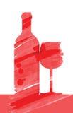 Mão tirada de bandeiras do vinho Foto de Stock
