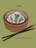 Mão tirada de bolinhas de massa chinesas ilustração royalty free
