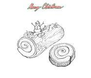 Mão tirada do bolo ou de Yule Log Cake tradicional do Natal ilustração stock