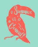 A mão tirada rotulando o verão do ` é ` de vinda inscreido no tucano Aperfeiçoe para seu convite ou cartaz do partido do verão Fotografia de Stock Royalty Free
