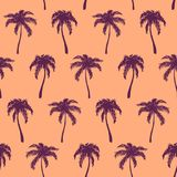 Mão tropical violeta alaranjada monocromática da palmeira tirada Fotos de Stock Royalty Free