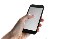 Mão usando o dedo branco vazio da imprensa do telefone celular da tela isolado imagem de stock