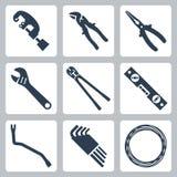A mão utiliza ferramentas ícones do vetor Foto de Stock Royalty Free