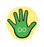 A mão vai na ilustração amarela do fundo Foto de Stock Royalty Free