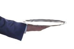 Mão vazia com uma bandeja Fotografia de Stock Royalty Free