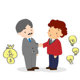 Mão velha da agitação do homem de negócio com o homem de negócio novo Foto de Stock Royalty Free