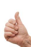 Mão velha das fêmeas que dá os polegares acima Fotografia de Stock Royalty Free