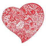Mão vermelha da tinta do coração da garatuja de Zentangle tirada isolada Imagens de Stock