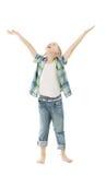 Mãos abertas do aumento do menino da criança acima Parte traseira isolada do branco foto de stock