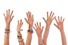 Mãos acima Fotografia de Stock