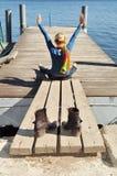 Mãos acima, felicidade da liberdade Imagens de Stock Royalty Free