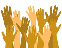 Mãos acima no oferecimento de votação do ar Foto de Stock