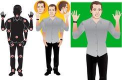 Mãos ACIMA, vetores prontos à animação, personagem de banda desenhada do homem novo do • na camisa azul formal, boneca pronta d imagens de stock
