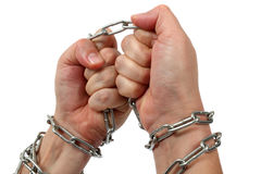 Mãos acorrentadas Fotografia de Stock