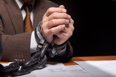 Mãos acorrentadas. Imagem de Stock Royalty Free