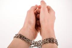 Mãos acorrentadas Imagem de Stock