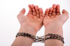 Mãos acorrentadas Foto de Stock