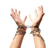 Mãos acorrentadas junto Fotos de Stock
