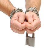 Mãos acorrentadas junto Fotografia de Stock