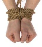 Mãos amarradas isoladas Foto de Stock