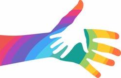 Mãos amiga coloridas no fundo branco Foto de Stock