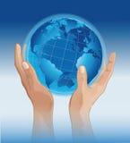 Mãos ao mundo ilustração do vetor
