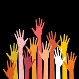 Mãos ascendentes coloridas Foto de Stock Royalty Free