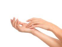 Mãos bonitas da mulher com os pregos do tratamento de mãos francês Fotos de Stock Royalty Free