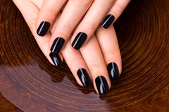 Mãos bonitas das mulheres com tratamento de mãos preto Foto de Stock Royalty Free