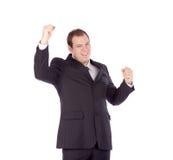Mãos brancas novas do campeão do isolado do homem de negócio Fotografia de Stock Royalty Free