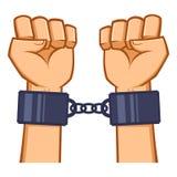 Mãos capturadas acorrentadas com algema Fotografia de Stock