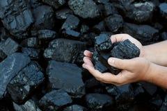 Mãos carbonosas que guardam a peça ensolarado da pedra de carvão Foto de Stock Royalty Free