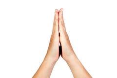 Mãos clasped na oração fotos de stock royalty free