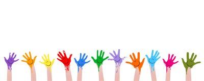 Mãos coloridas Imagem de Stock