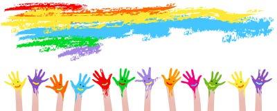 Mãos coloridas Imagens de Stock