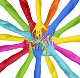 Mãos coloridas conectadas em um círculo Fotografia de Stock