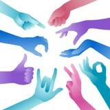 Mãos coloridas do vetor Fotografia de Stock Royalty Free