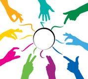 Mãos coloridas trabalhos de equipa Imagens de Stock Royalty Free