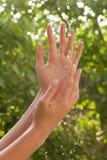 Mãos com água Fotografia de Stock