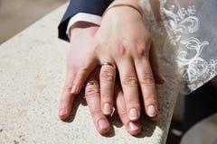 Mãos com anéis de casamento Fotografia de Stock Royalty Free