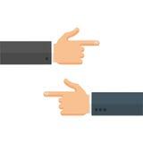 Mãos com apontar os dedos deixados e a ilustração direita do vetor Foto de Stock Royalty Free