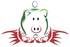 Mãos com a caixa de dinheiro do porco ilustração royalty free