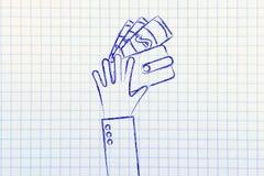 Mãos com carteira e cédulas, ilustração lisa Fotos de Stock Royalty Free