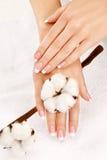 Mãos com colheita do algodão Imagens de Stock Royalty Free
