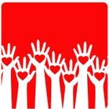 Mãos com corações Fotos de Stock Royalty Free