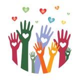 Mãos com corações up3 fotos de stock