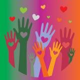 Mãos com corações up5 fotos de stock