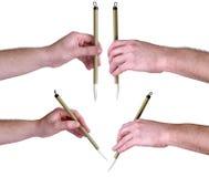 Mãos com a escova caligráfica japonesa Fotos de Stock Royalty Free