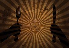 Mãos com ferramentas da cozinha Fotografia de Stock