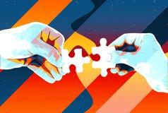Mãos com fundo abstrato de duas partes do enigma, ilustração moderna para trabalhos de equipe, parceria, relacionamento, conexão  ilustração royalty free